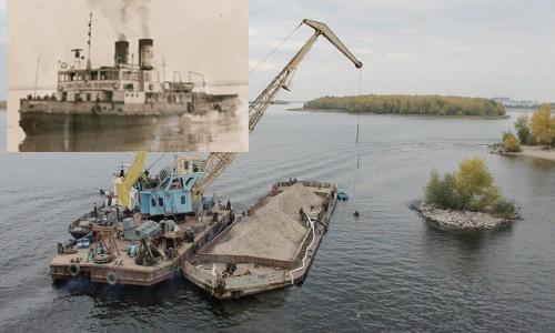 """Начало работ на месте затонувшего """"Саратовского ледокола""""; вид ледокола в 1960 году"""